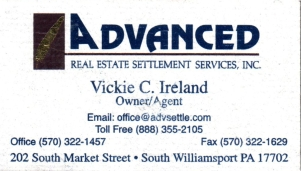 Vickie C. Ireland Owner and Agent of Advanced Real Estate Settlement Services Inc